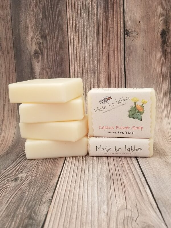stack of cactus flower bath soap by Made to Lather