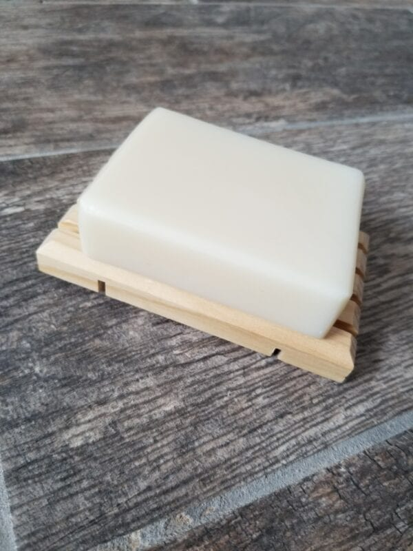 Bar soap on a soap dish by Made to Lather