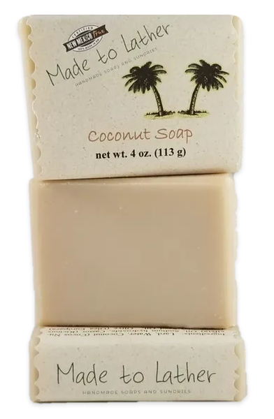 three bars of coconut soap by Made to Lather