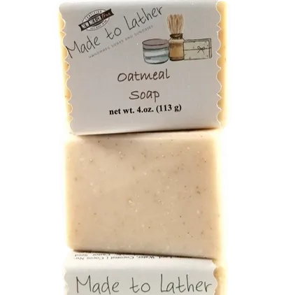 three bars of oatmeal soap by Made to Lather