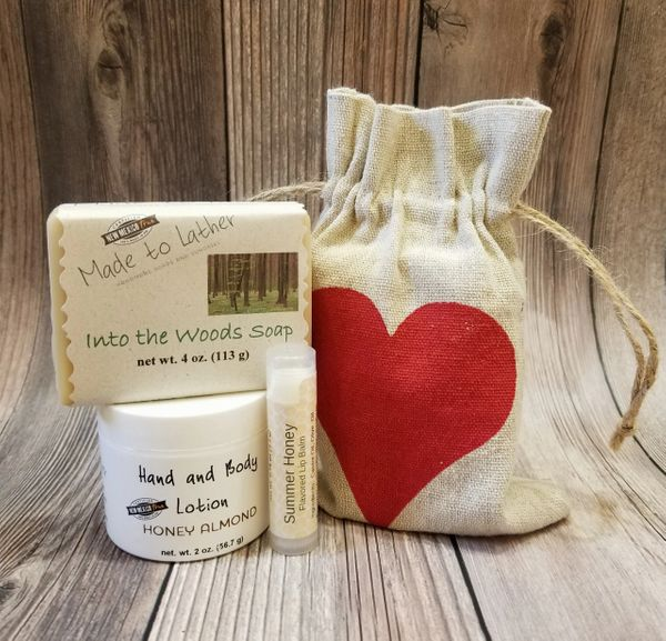 soap, lotion and lip balm set by Made to Lather