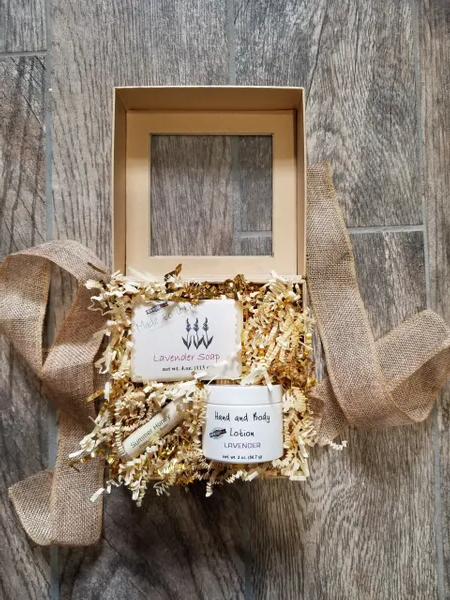 gift box with a bar of soap and lotion jar by Made to Lather