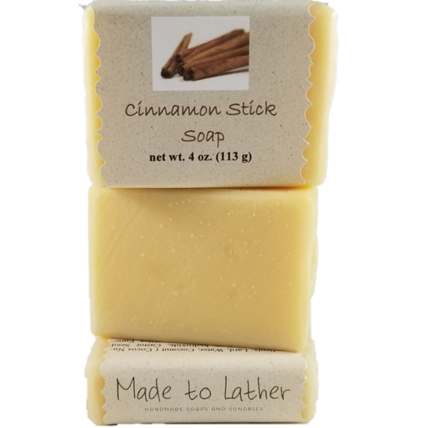 three bars of Cinnamon stick soap by Made to Lather