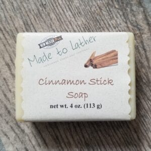 bar of cinnamon stick soap by Made to Lather