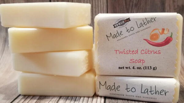 stack of twisted citrus soap by Made to Lather