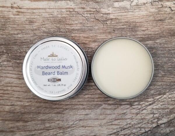 2 tins of hardwood musk beard balm by Made to Lather