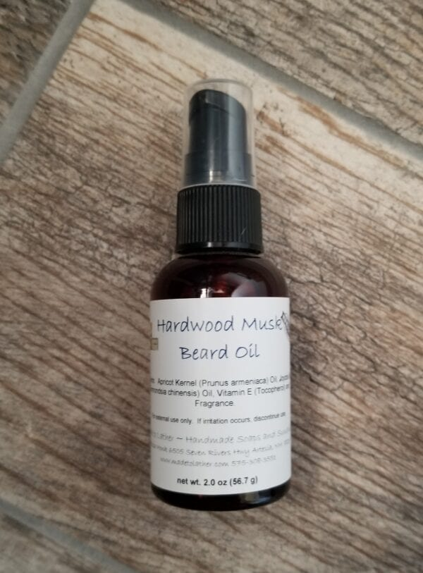 bottle of hardwood musk beard oil by made to lather
