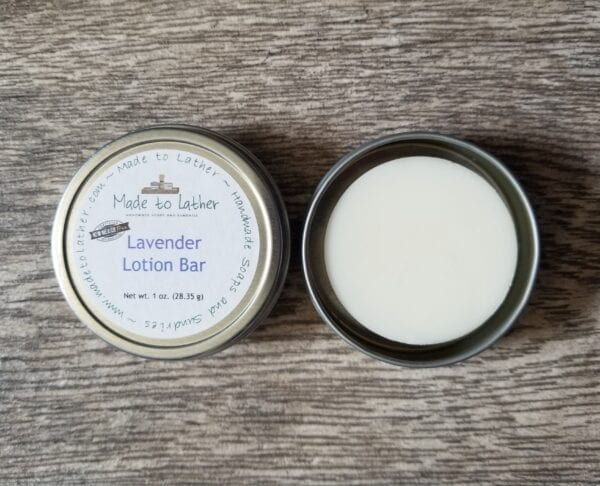 lavender lotion bar in a tin