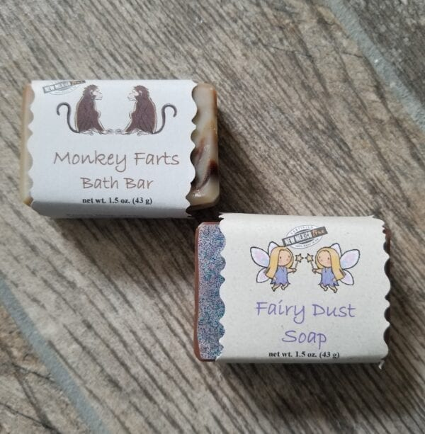 Mini bars of Monkey Farts and Fairy Dust soaps by Made to Lather