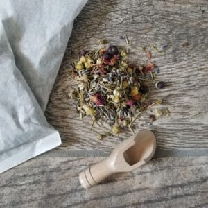 loose relaxing bath tea alongside 2 tea bags by Made to Lather