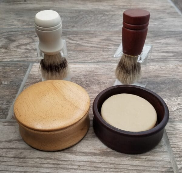 two shaving bowl and two shaving brushes by made to lather