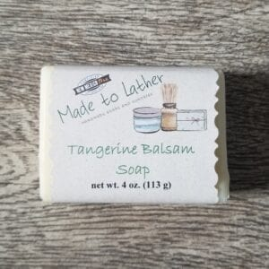 bar of tangerine balsam soap by made to lather