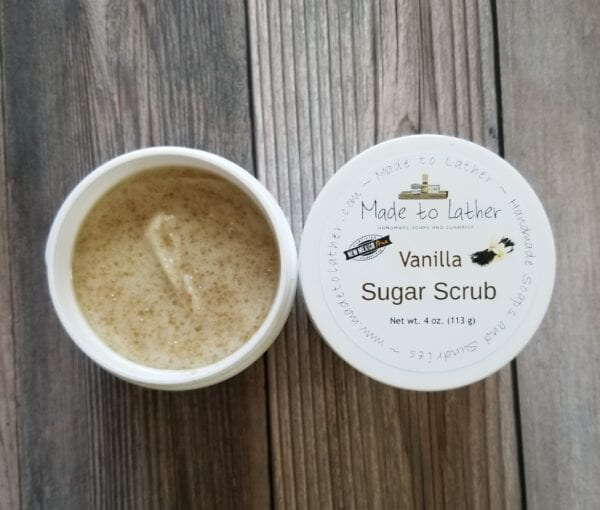 two jars of vanilla sugar scrubs by made to lather