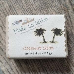 bar of coconut soap by Made to Lather