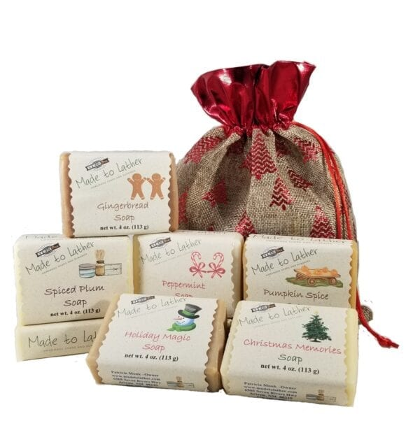 gift bag with 6 holiday scented soaps by made to lather
