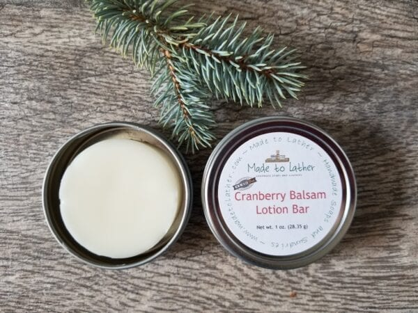 2 tins of cranberry balsam lotion bars by made to lather