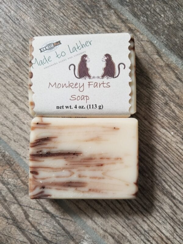 two bars of Monkey Fart's soap by Made to Lather