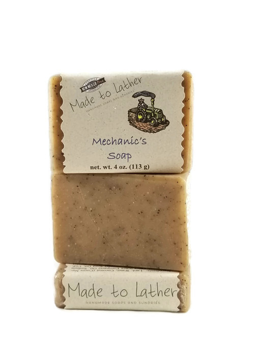 three bars of mechanics soap by Made to Lather