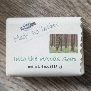 bar of into the woods soap by Made to Lather