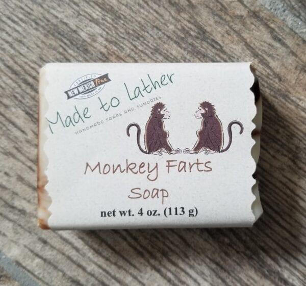 bar of monkey farts soap by Made to Lather