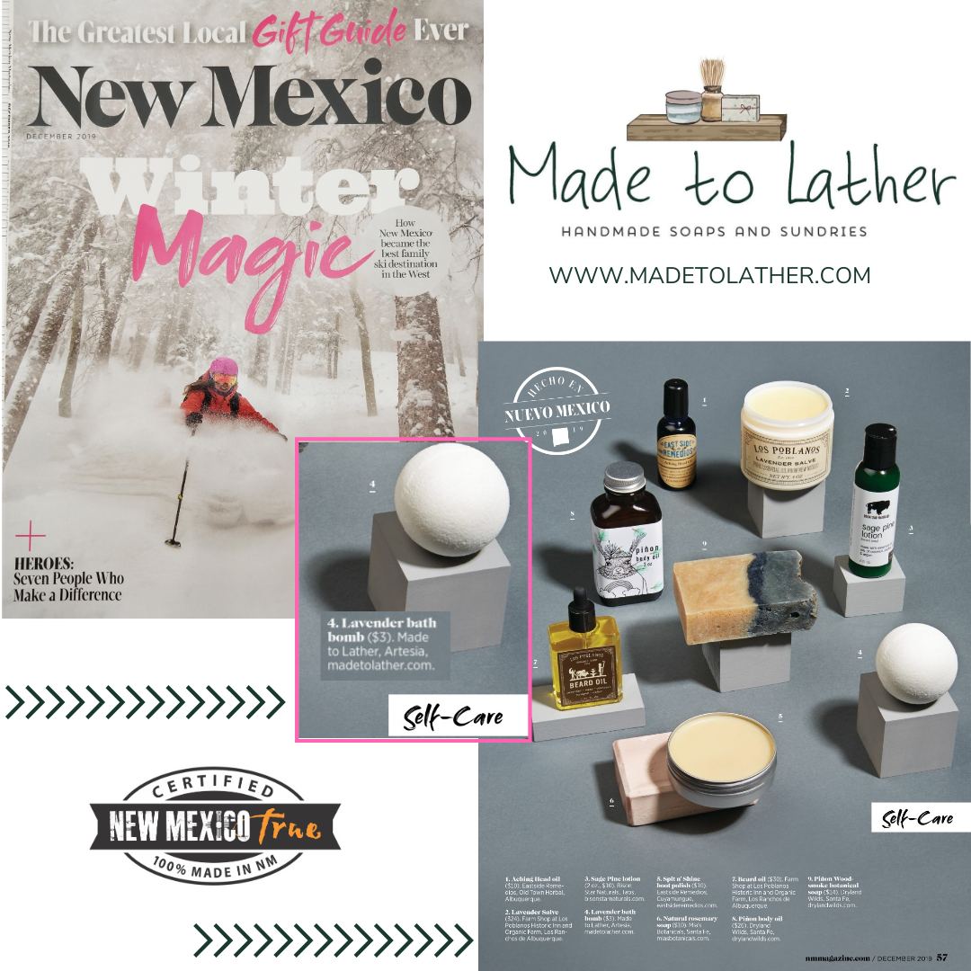 magazine cover with bath products featuring Made to Lather