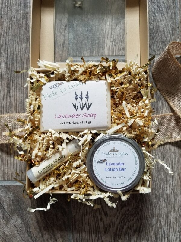 gift box containing one bar soap, one lotion bar and one lip balm by Made to Lather