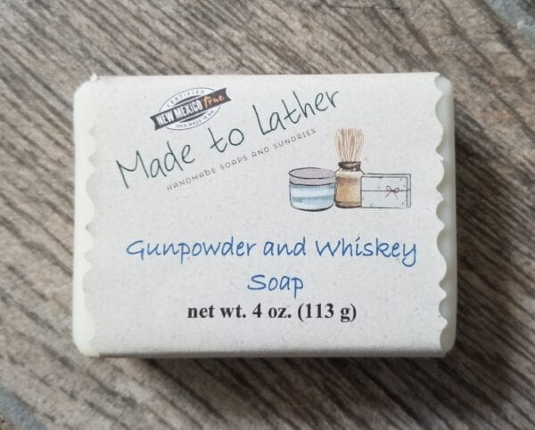 bar of gunpowder and whiskey soap by Made to Lather