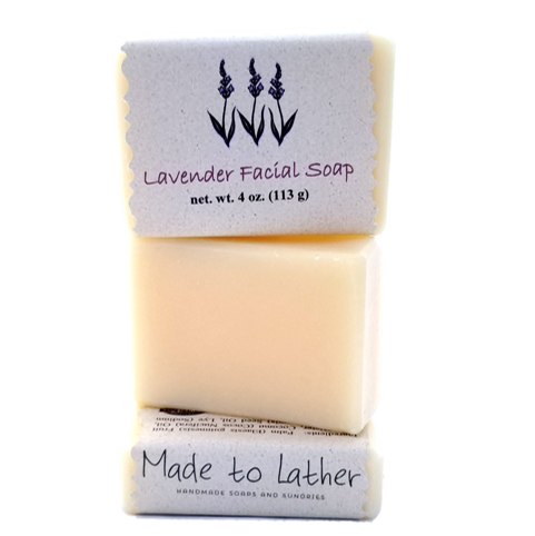 three bars of made to lather's facial bars stacked