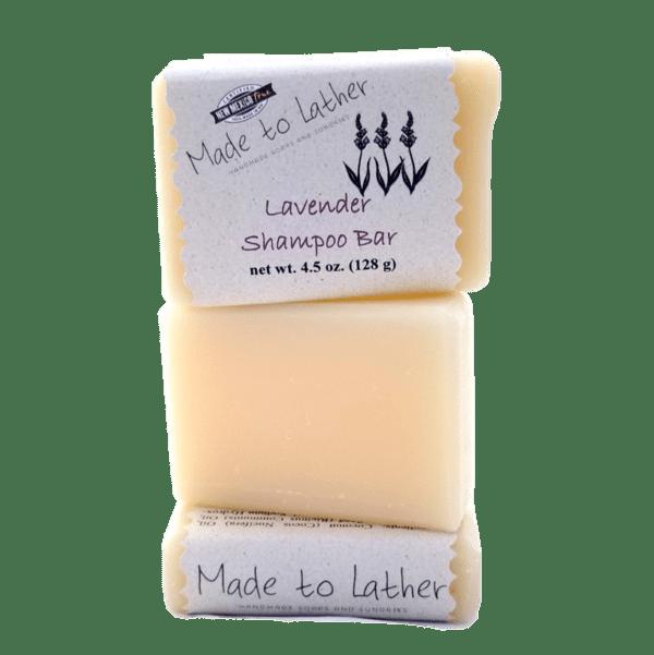 three Made to Lather Lavender Shampoo Bars