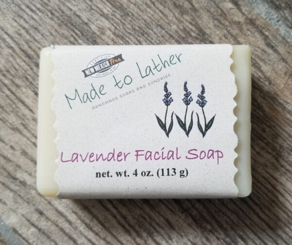bar of lavender facial soap by Made to Lather
