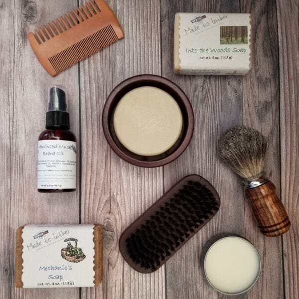 collection of men's bath and beauty products by Made to Lather