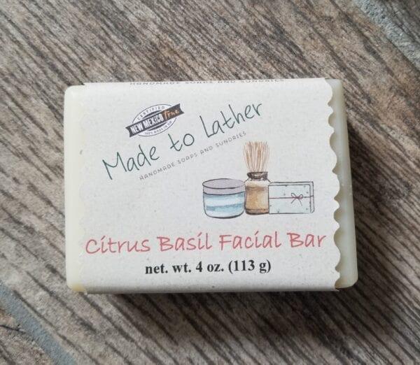 a bar of made to lather's citrus basil facial soap