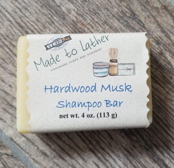 a bar of Made to Lather's hardwood musk shampoo bar soap