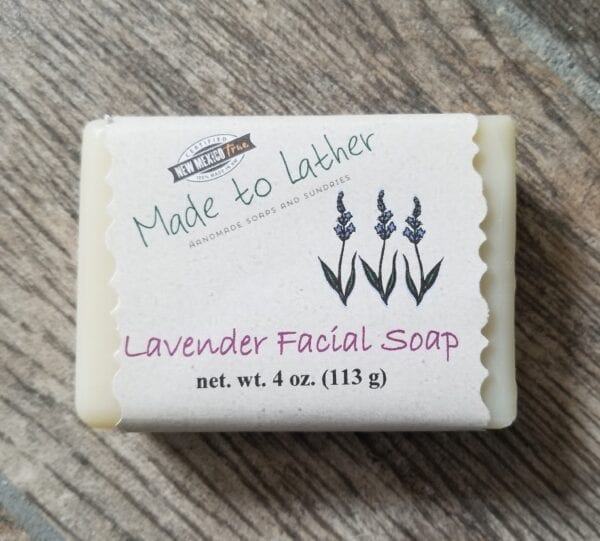 a bar of made to lather's lavender facial soap