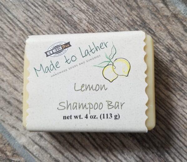 a bar of Made to Lather's Lemon Shampoo Bar