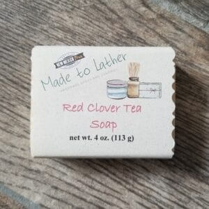 a bar of Made to Lather's Red Clover Tea soap
