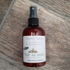 bottle of snooze spray by made to lather