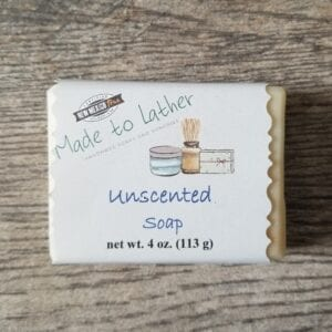 a bar of Made to Lather's Unscented soap