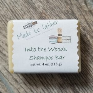 a bar of Made to Lather's Into the Woods Shampoo Bar soap